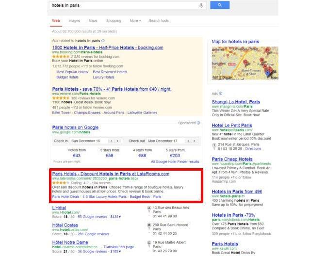 Google hotel finder truste la 1 re place des r sultats de for Recherche hotel sur carte